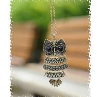 Урожай Симпатичные Сова Форма ожерелье #01026908