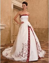 Сатиновое свадебное платье из органзы с А-силуэтом #00085097