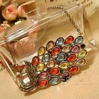 Богемия Красочные Павлин Форма ожерелье #01027141