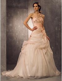 A-Line Милая суд поезд органзы свадебное платье (722156) #00722156