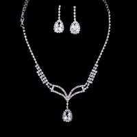 Память Любовные Женские Серебряный Diamond Claw Сеть серьги и ожерелье J0004-1 #01028626