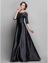 оболочкой / колонки жемчужина длиной до пола стрейч атласа и кружева мать невесты платье (682760) #00682760