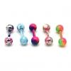 1PCS Candy Цвет Titanium стальной шарик гантели Pattern Серьги (разных цветов) #00608759