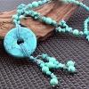 Женская 13см Calaite Мир Кулон 66см Длинный свитер ожерелье
