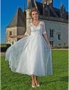 -линии V-образным вырезом до пят органзы кружева свадебного платья #00360244