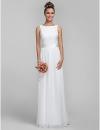 оболочкой / колонки Бато шифона и кружева платье невесты #00605514