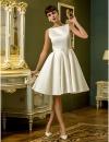 A-Line Бато длиной до колен атласная свадебное платье с драпировкой (710790) #00710790