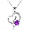 Женская 925 Серебряное сердце Кристалл ожерелье