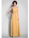 Длинное шифоновое платье с V-образным вырезом для матери невесты #00287169