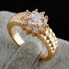 Ку-Ню Женская золотое покрытие Циркон 12мм Кольцо J1041