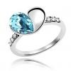 Голубой Кристалл формы сердца кольцо
