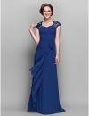 Line V-образным вырезом длиной до пола, шифон мать невесты платье (722137) #00722137