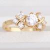 Ку-Ню Женская золотое покрытие Циркон 6мм кольцо J28624