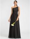оболочкой / колонки одно плечо длиной до пола, шифона платье подружки невесты с бисером (612441) #00612441
