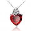 Мага Heart Shape гранат Серебряное ожерелье